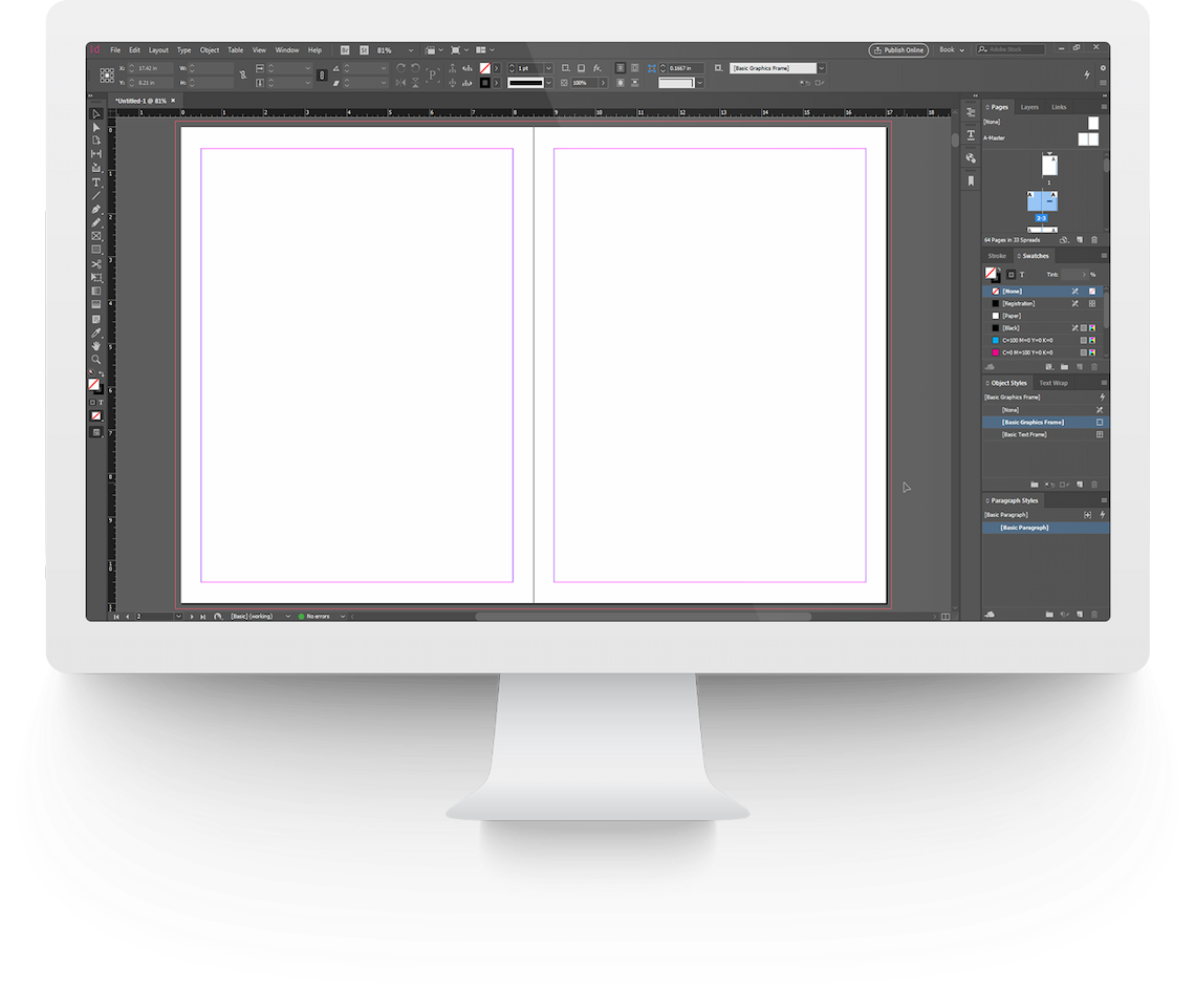 Adobe InDesign on iMac